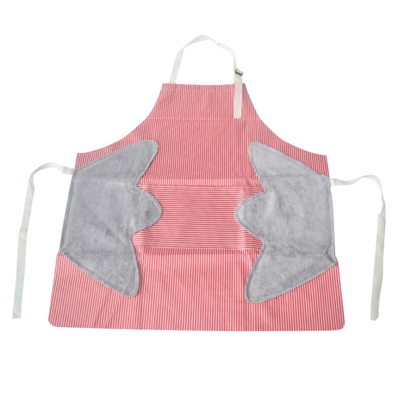 防油围裙 带擦手毛加厚防水厨房围裙 家用男女通用挂脖围裙
