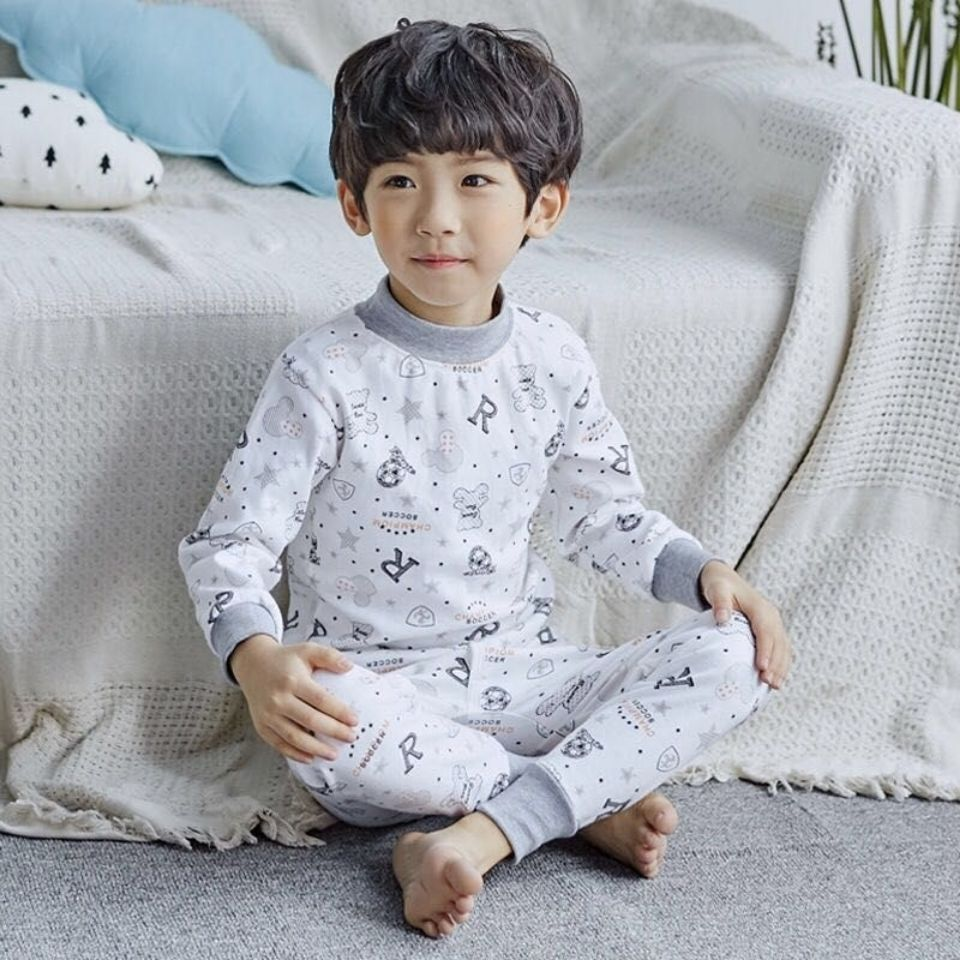 Autumn clothes and trousers set pure cotton childrens high and low collar middle and large childrens underwear all cotton boys and girls warm baby cotton sweater