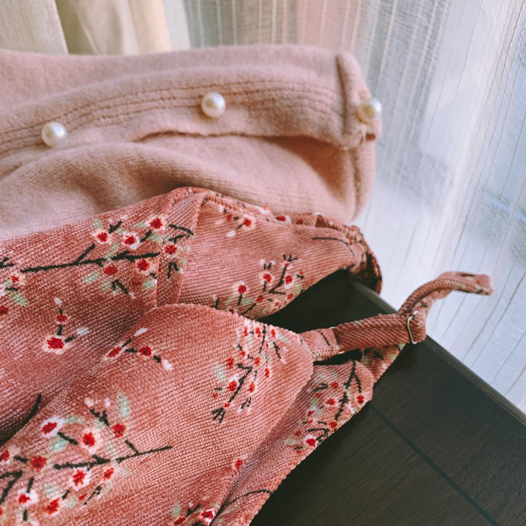 【月桂香舆荔枝】温暖系加厚超大摆灯芯绒冬季内搭吊带裙连衣裙