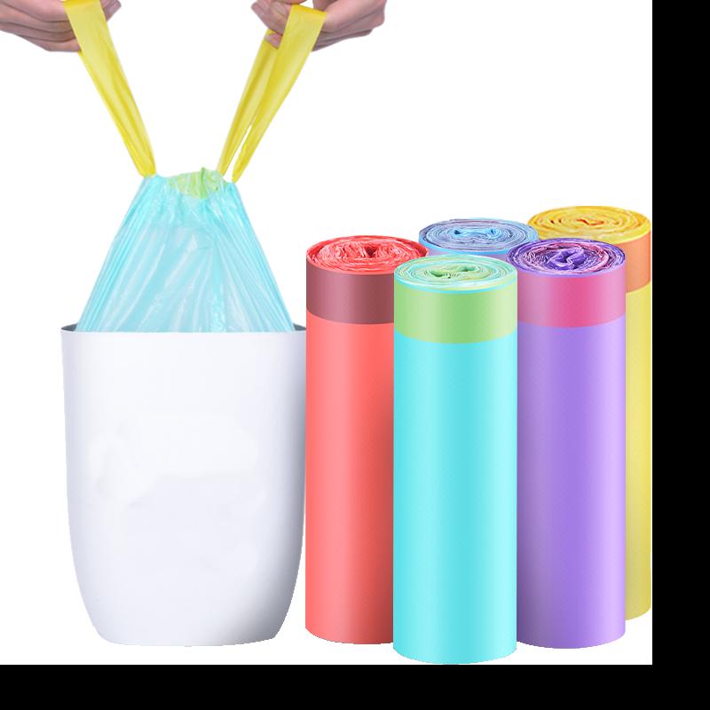【盈都】45-150只自动收口垃圾袋【品质保证】抽绳手提式垃圾袋