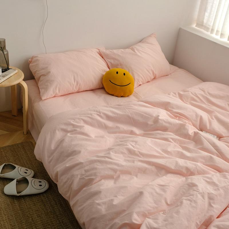 ins奶油水洗棉四件套粉色纯棉被套质量如何