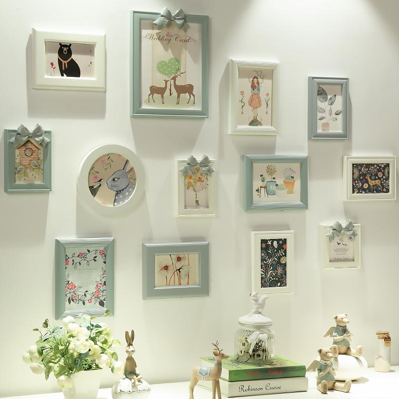 欧式客厅照片墙免打孔创意实木相框挂墙组合餐厅墙面装饰