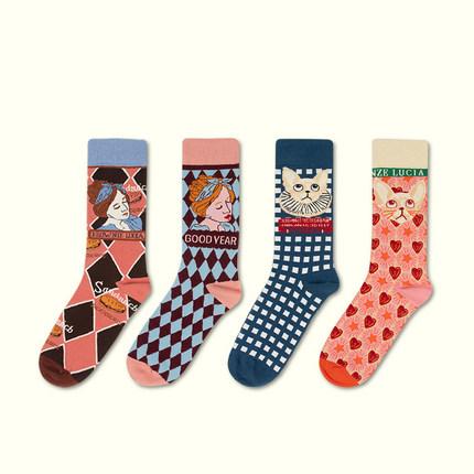 2双装春秋新款洛丽塔设计师款复古棉袜个性女潮袜情侣中筒袜