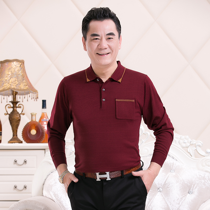 Dads Lapel knitted long sleeve polo shirt mens solid autumn coat mens middle-aged and elderly t-shirt mens 667p35