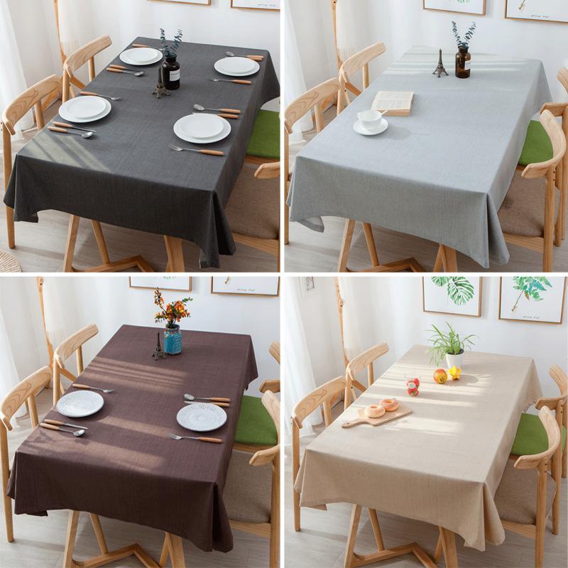 ins防水棉麻餐桌布艺茶几纯色亚麻会议室台布灰色咖啡色单色桌布