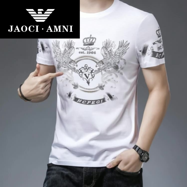 Counter authentic round neck short sleeve t-shirt mens printed mercerized cotton half sleeve summer new large ice silk shirt