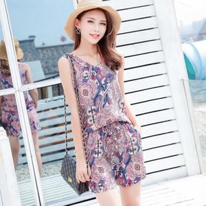 棉绸套装女夏季绵绸无袖背心短裤学生休闲时尚两件套装洋气小个子