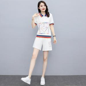 YF43518# 大码女装夏季新款洋气时尚休闲短裤运动风气质减龄套装女 服装批发女装直播货源