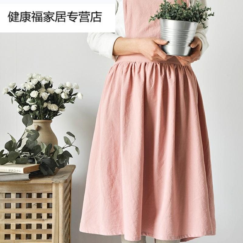 定制logo围裙日式复古森系画室花艺百褶裙摆系带棉麻文艺工作服