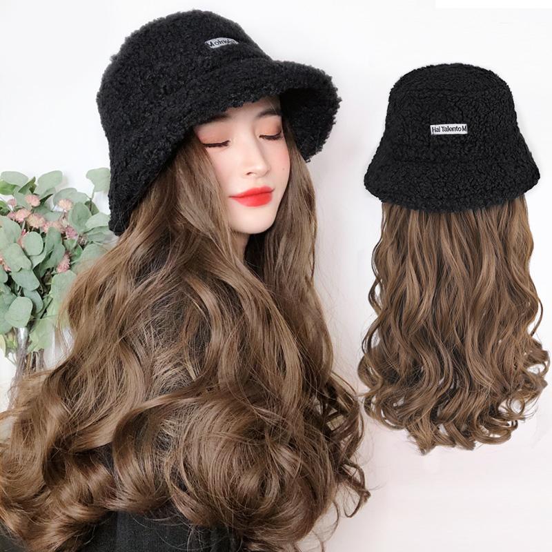 长卷假发帽一体可拆卸韩版网红帽带头发时尚羊羔毛渔夫帽子女秋冬