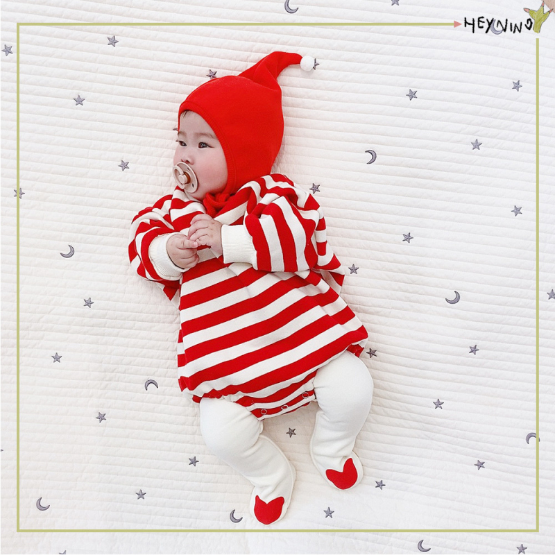 Newborn baby autumn clothes baby girl Jumpsuit long sleeve baby hatsuit stripe hundred day full moon triangle bag fart clothes