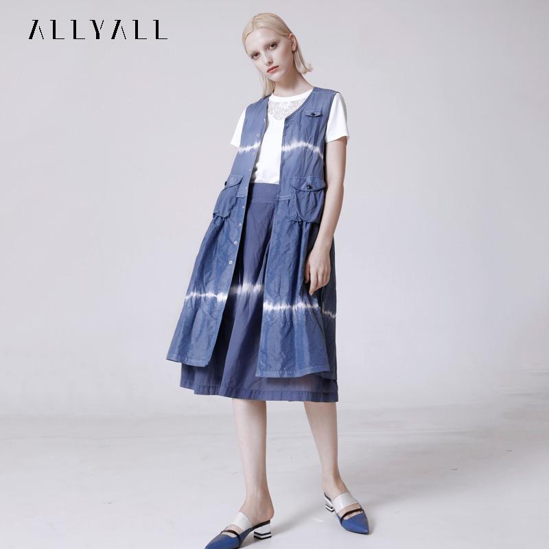 艾利欧2020秋季新款时尚轻薄无袖扎染大摆衬衫连衣裙女百搭上衣