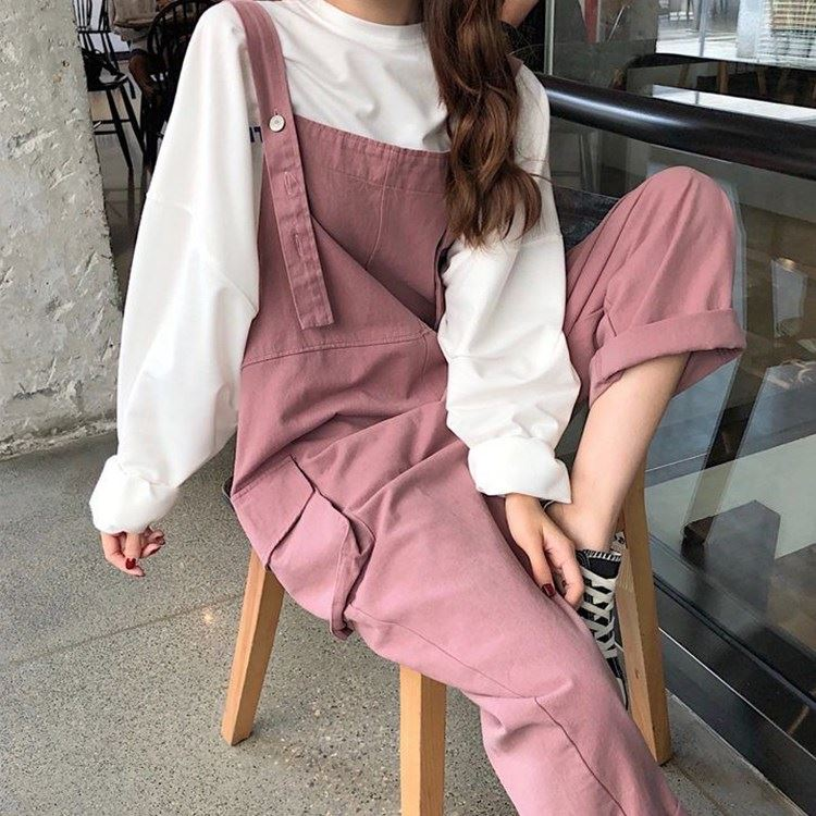 New summer tooling straight tube strap shows thin leisure Korean style pocket age reducing loose sling one-piece pants for women