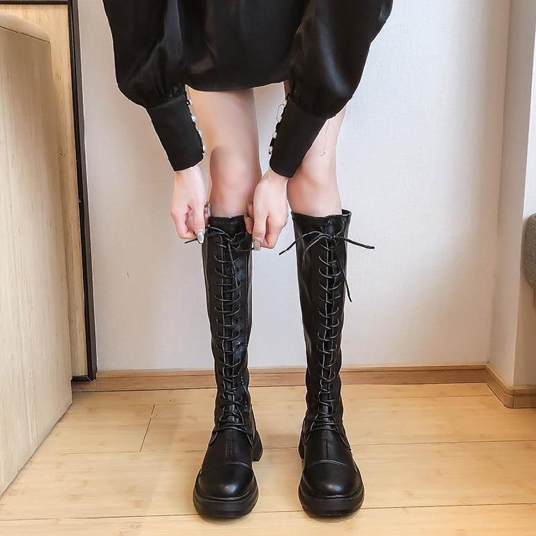 纯黑长筒靴女2020新款内靴子高筒靴厚底高跟鞋初冬秋鞋无鞋带