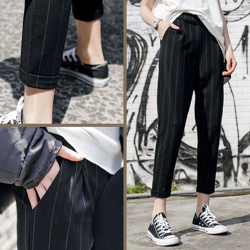 Wanghong 2020 super large womens trousers suit vertical stripe casual pants spring and summer pants 200kg fat mm loose high