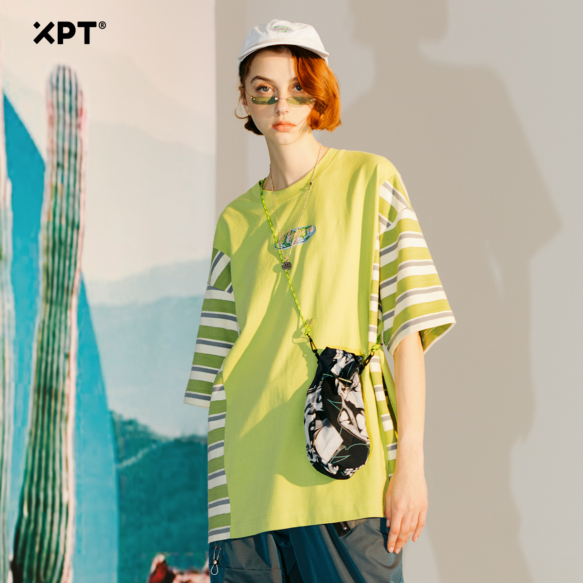 XPT personalized fashion brand half sleeve T-shirt Hong Kong style contrast stripe stitching medium sleeve clothes top fashion couple t-shirt men and women