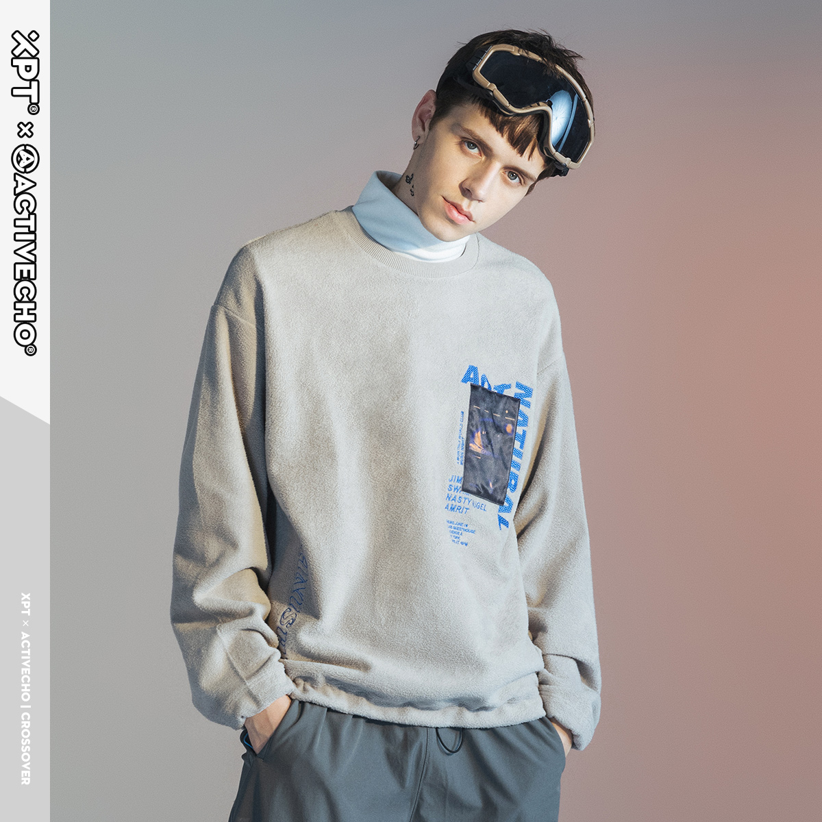 XPT mens round neck Pullover grey top new leisure fleece mens embroidered sweater in spring 2020