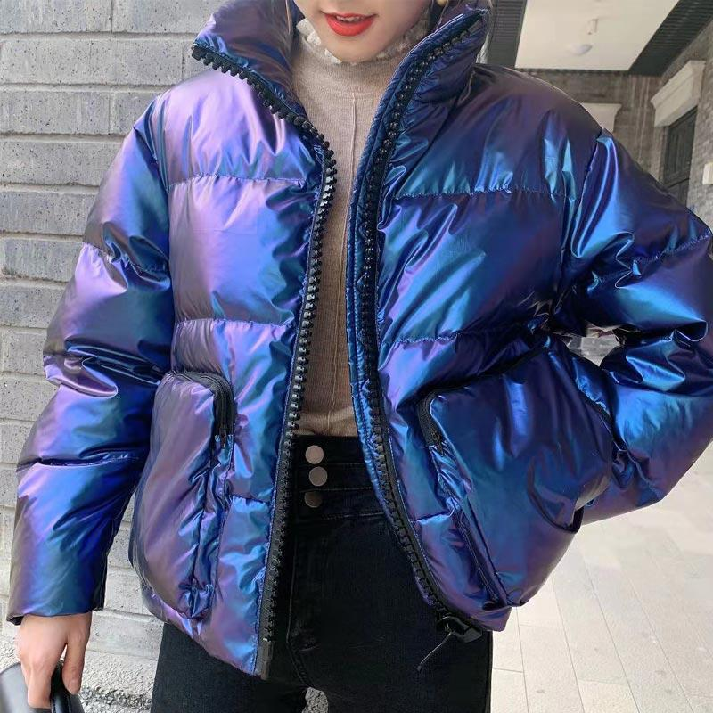 Down jacket womens new winter 2019 metal gradual change color bread short white duck down down jacket women
