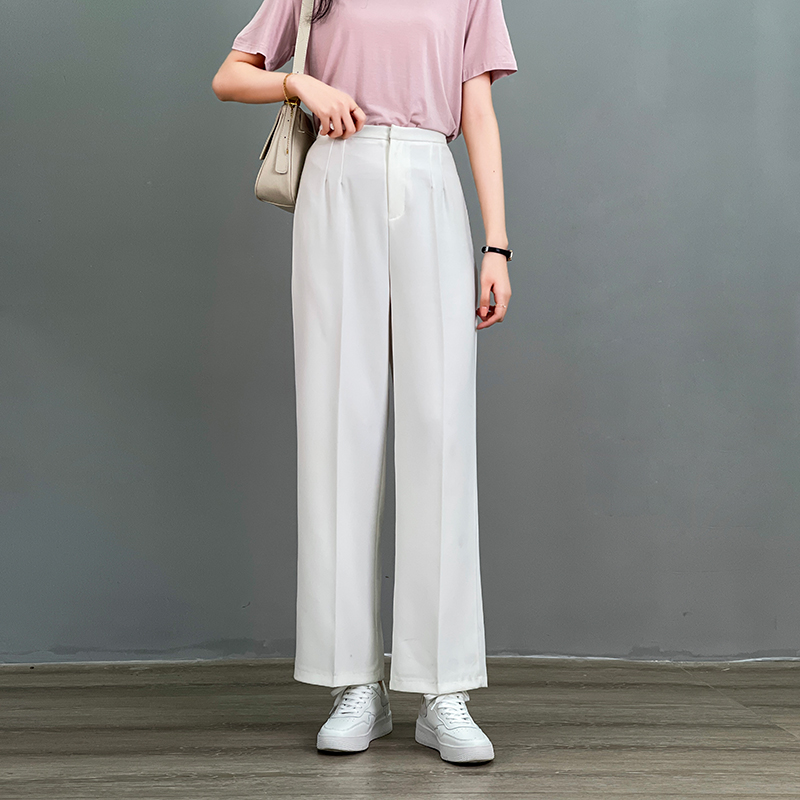 Suit pants womens 2021 spring new Korean versatile high waist slim straight tube drop loose casual wide leg pants