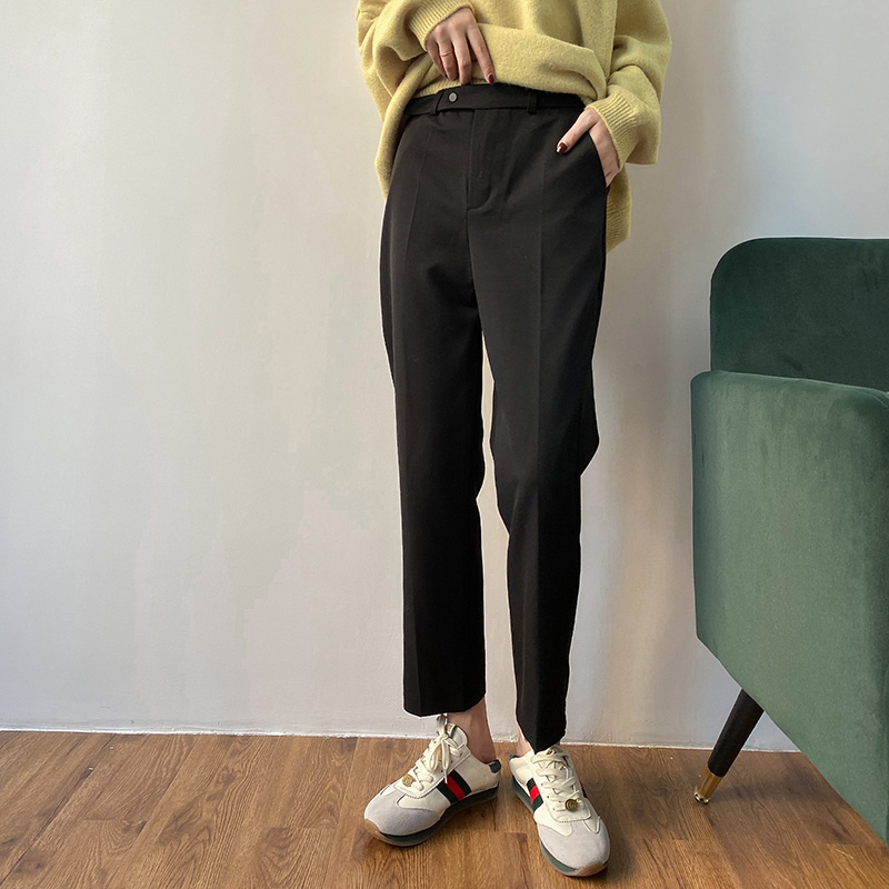 Suit pants womens 2021 spring new Korean loose vertical smoke tube pants high waist slim nine point straight casual pants