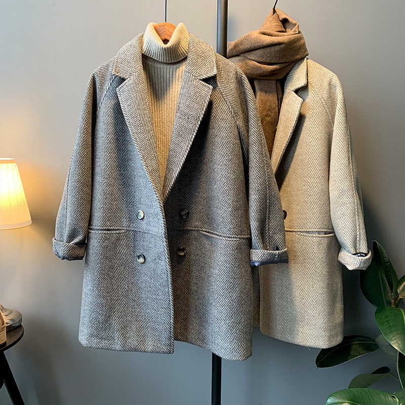 Woollen coat womens spring 2021 new Korean twill loose medium length and cotton overcoat suit top fashion