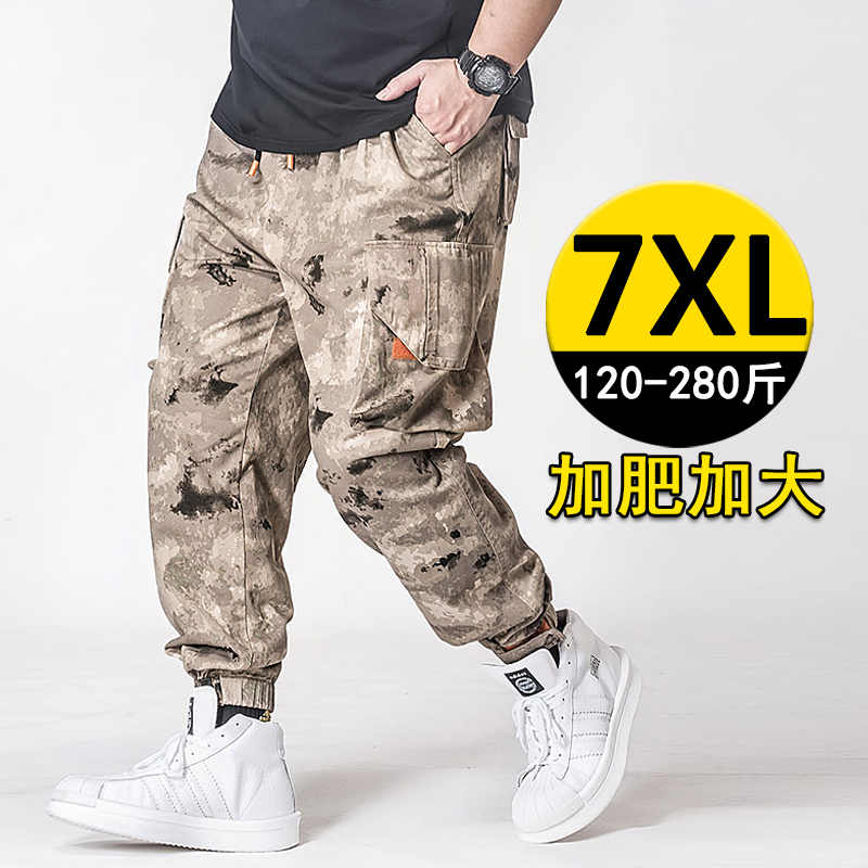 Add fat size desert camouflage overalls mens fashion fat man working fat man outdoor training climbing pants 200jin
