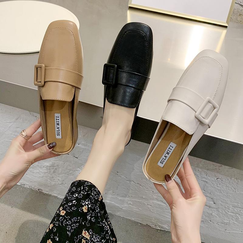 包头半拖鞋女外穿2020新款夏季方头网红时尚软皮粗跟懒人凉拖