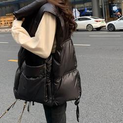 黑色羽绒马甲女轻薄2020年秋冬季新款白鸭绒羽绒服外穿宽松中长款