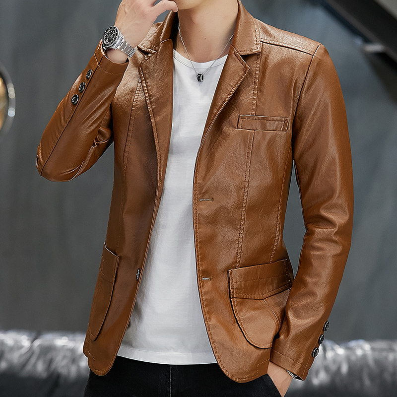 Leather Mens coat spring and autumn thin casual small suit Lapel Pu simulation leather jacket Korean version trend handsome