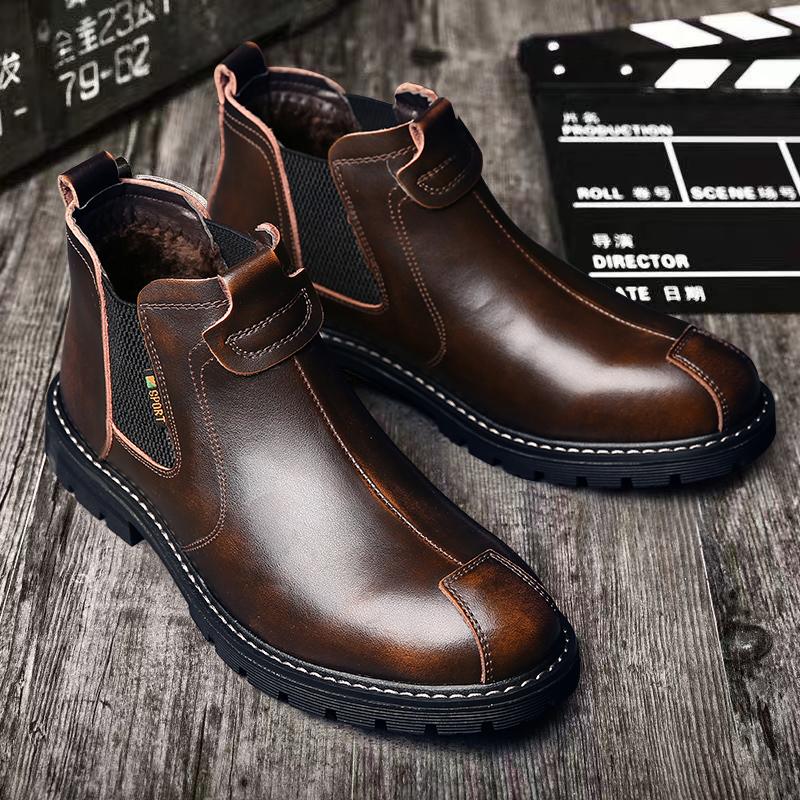 切尔西靴男英伦风马丁靴真皮百搭冬季加绒保暖中帮靴子潮休闲短靴