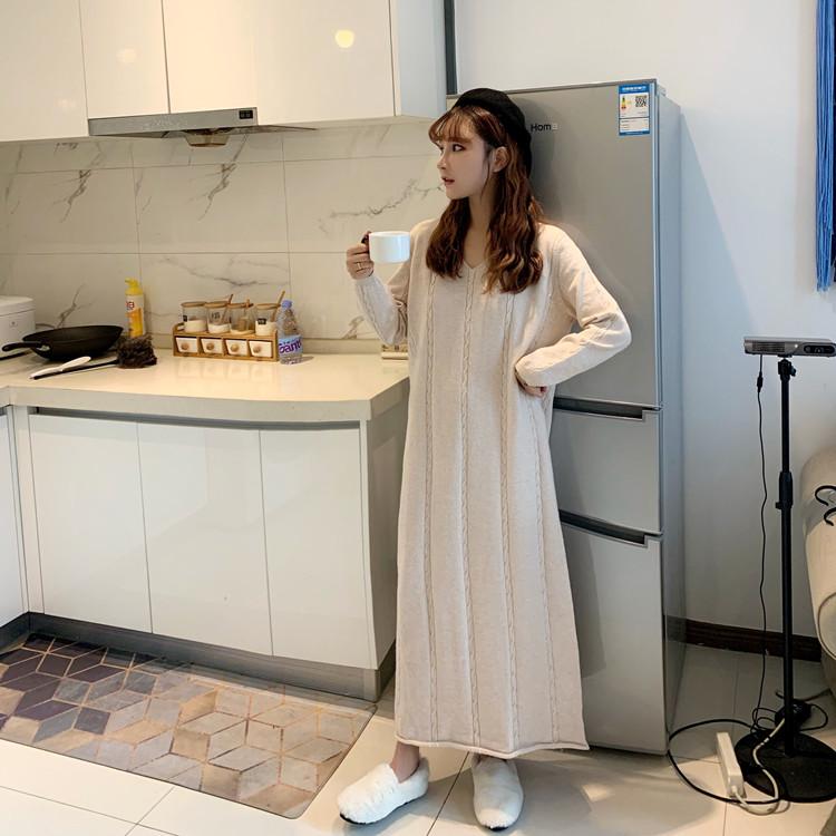 Regina knitted V-neck Pullover womens new style in spring 2020: Hemp base skirt, long sleeve knitted skirt