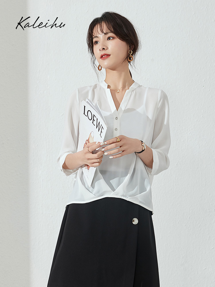 Stand collar shirt front short back pants dress skirt versatile Tie Shirt
