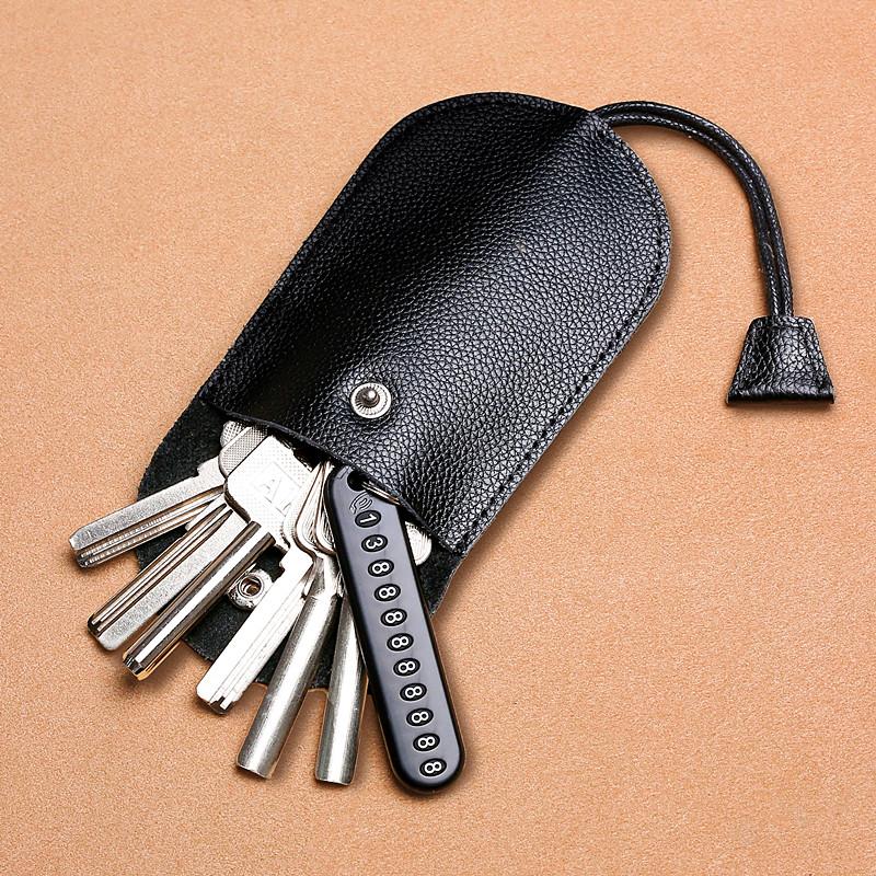 真皮多功能钥匙包抽拉式迷你小巧简约锁匙包大容量男女车钥匙通用