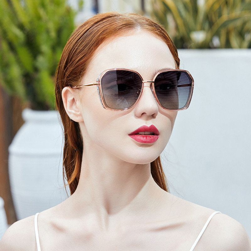 Sunglasses female Korean fashion fashion big face show thin Polarized Sunglasses sunscreen anti UV glasses 2020 NEW