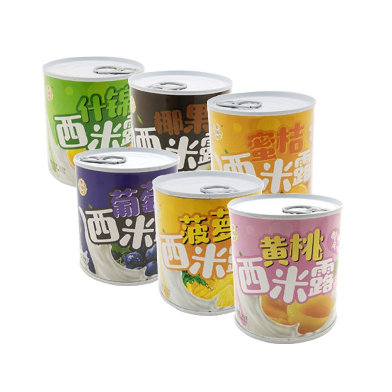 [fresh on the market] canned yoghurt, fruit, yellow peach, sago snack, orange assorted pineapple and coconut fruit Sago