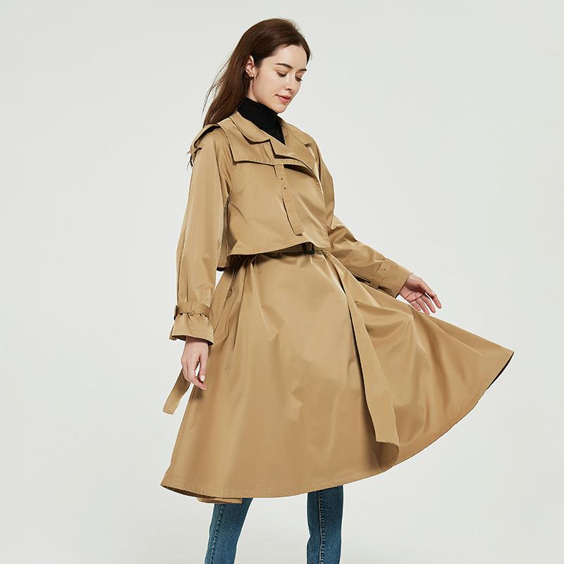 2020 new style windbreaker long temperament female fashion British style Khaki lace up high-end atmospheric fashion coat