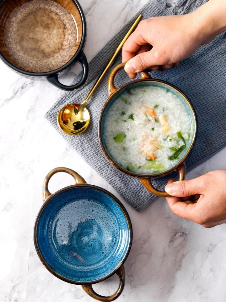 陶记徐福康餐具欧美重工创意陶瓷双耳碗沙拉碗汤碗炖蛋碗