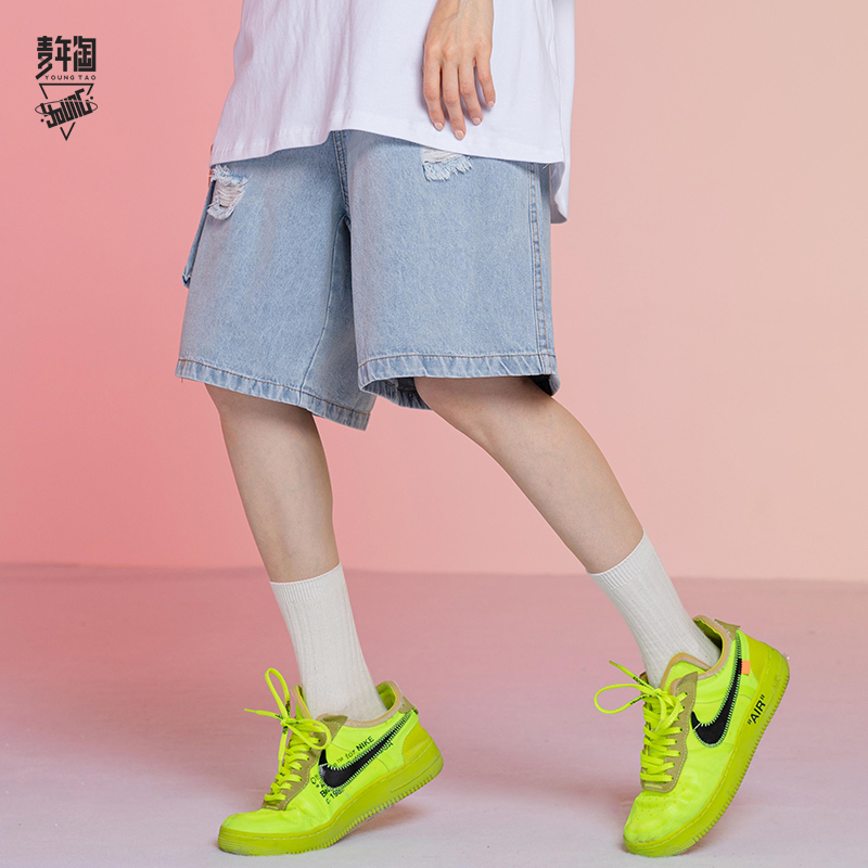 Young peoples summer trend blue washing broken hole tooling Jeans Shorts Girls trend casual Capris