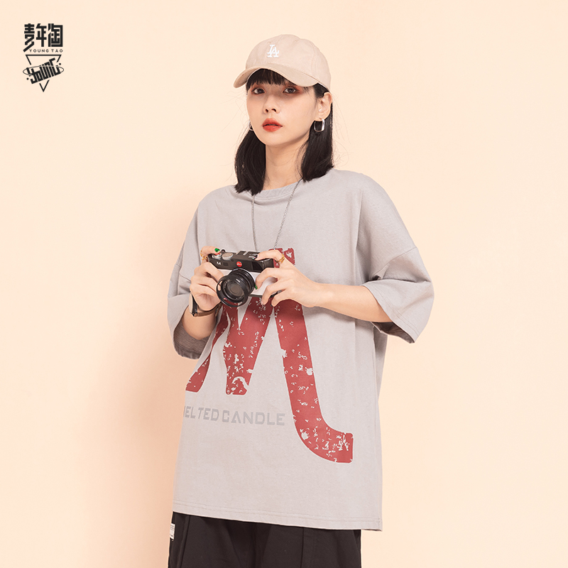 Youth taozuo old letter printed round neck T-shirt short sleeve fashion mens summer national fashion loose half sleeve lovers