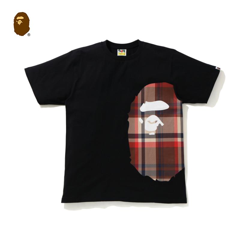 BAPE男裝春夏猿人頭印花格紋圖案純色單色短袖T恤110050G