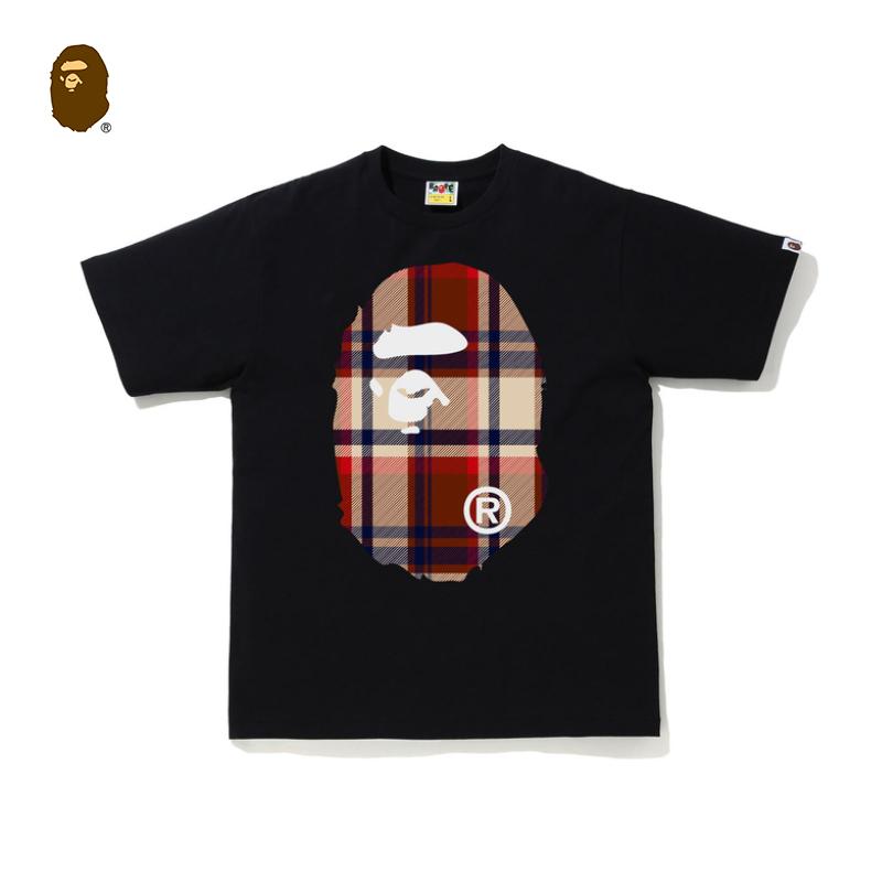 BAPE男装春夏猿人头印花格纹图案短袖T恤110049G