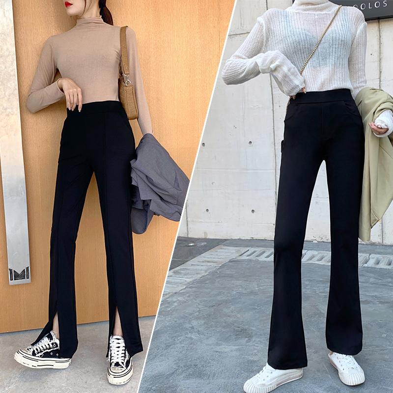 黑色休闲裤女微喇叭裤2020年春夏新款高腰直筒女裤宽松显瘦长裤子