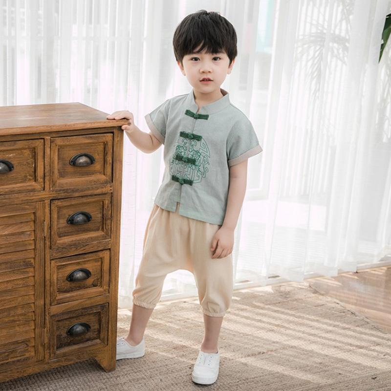 男童汉服夏季中小童棉麻薄款中国风童装古装幼儿两件套儿童唐套装