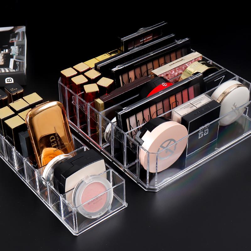 粉饼收纳盒眼影盘放口红的化妆品收纳盒透明抽屉分隔女气垫腮红架图片
