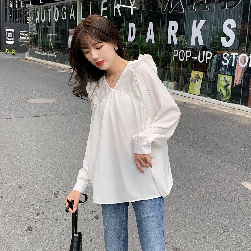 2020新款气质春装新款视频韩版黑装酒均码纯色v领长袖衬衫衬衣女