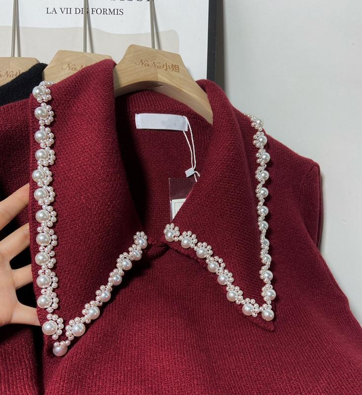 鹭青复古珍珠小香毛衣女2020秋冬宽松外穿套头百搭酒红针织上衣一