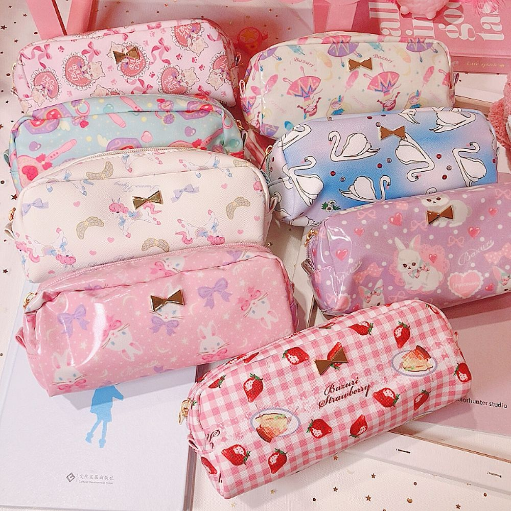 Japanese lovely Lolita girls heart pencil bag student stationery box soft girl cartoon large capacity pencil storage box