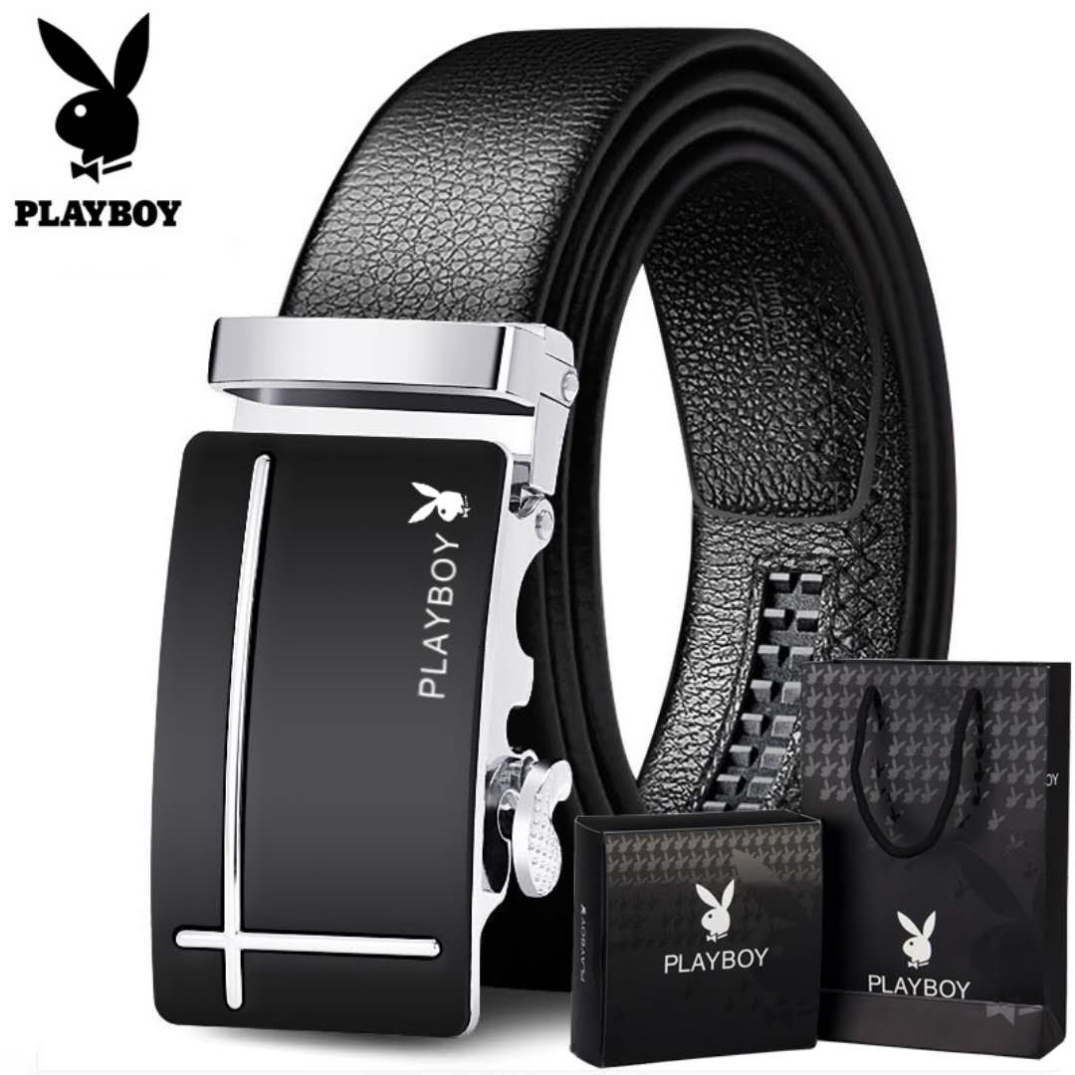 Playboy belt mens leather belt automatic buckle belt mens fashion casual middle-aged business pure leather pants.