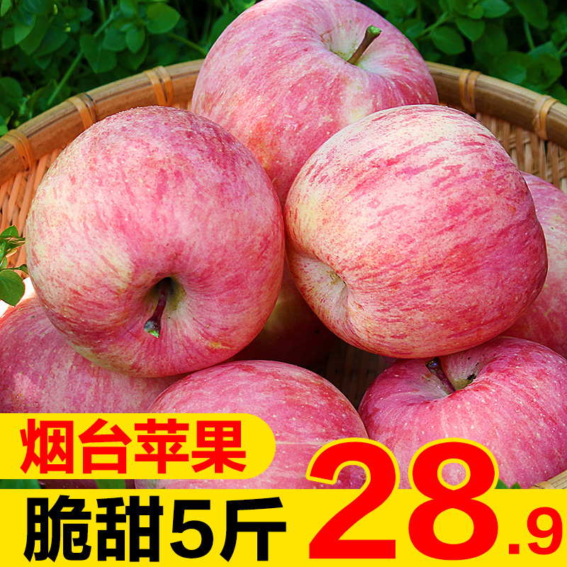 Shandong Yantai Qixia fresh red Fuji Apple 10 crisp sweet fruit fresh 5 jin whole box sugar heart wholesale in the season