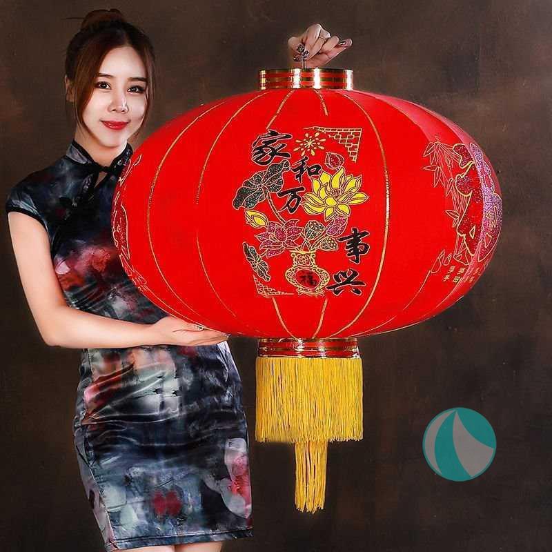 一对价格】新年春节大红灯笼过年大门口灯笼阳台灯笼挂饰植绒灯笼